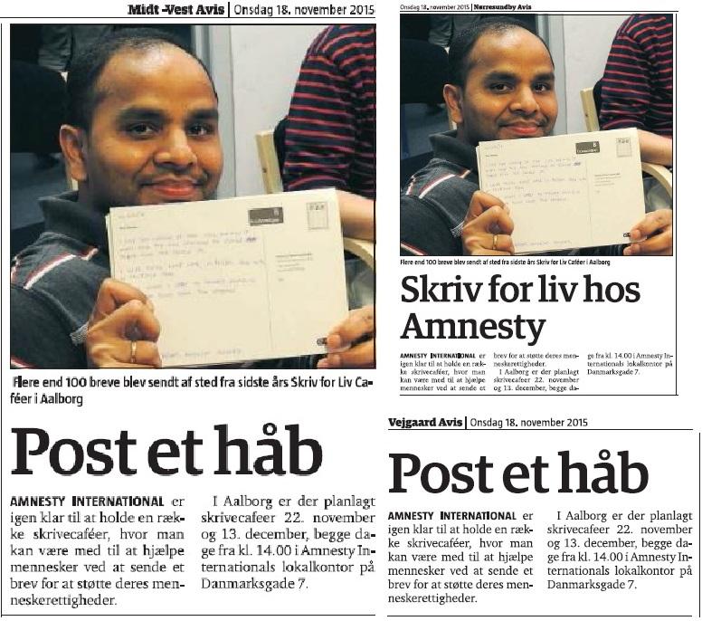 Post et håb i Amnesty Aalborg's Skriv for Liv Café'er